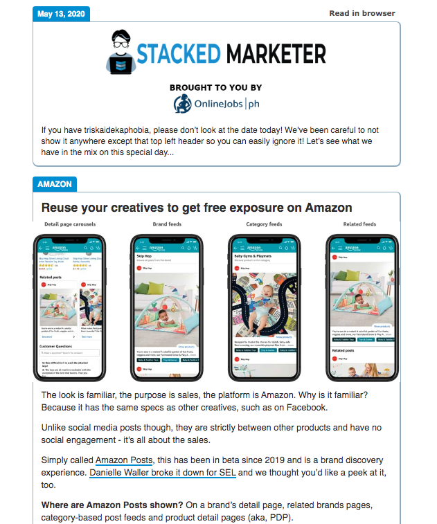 best business newsletters-stacked marketer