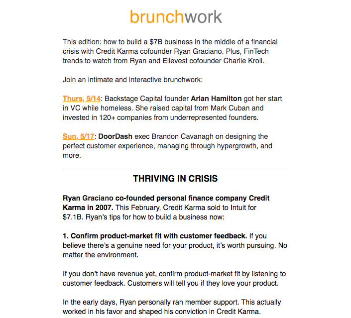 example of a brunchwork newsletter